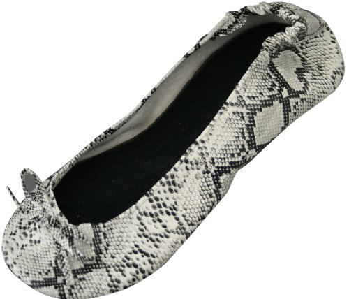 Bendables Dawgs Damen biegbarer Ballett flach, Snakeskin Pattern, (6 M) US - Womens Casual Ballet Flat