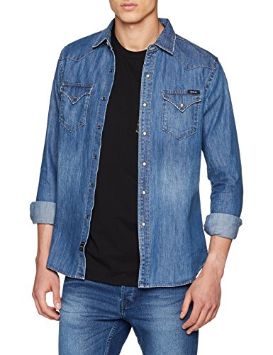 Replay m4860z.000.26c 316, camicia in jeans uomo, blu (dark blue denim 9), large