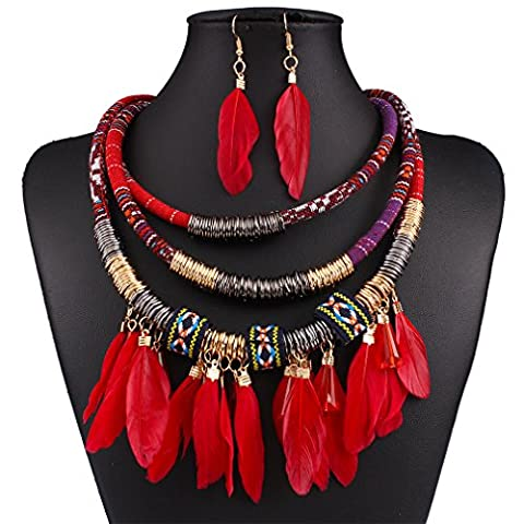 HongHu Three-row Jewellery Making Cloth Resin Feather Pendant Chunky Torque Necklace Earrings for