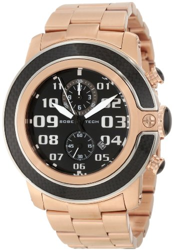Glam Rock Men's GR33104 SoBe Chronograph Black Dial Rose Gold Ion-Plated Stainless Steel Watch