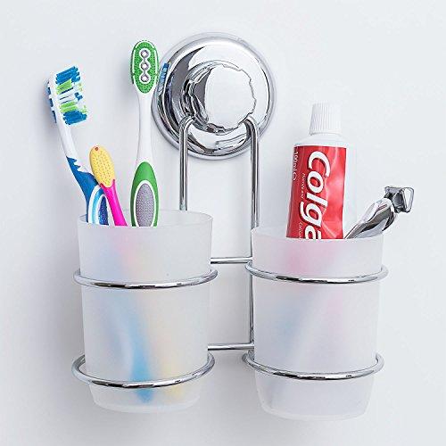 Tatkraft Odr | Zahnbürstenhalter für die Wand mit 2 Tassen | Zahnbürstenhalter mit Saugnäpfen | Einfache Montage ohne Werkzeug | Rostschutz für das Bad | Ideal : Zahnpasten, Rasierer