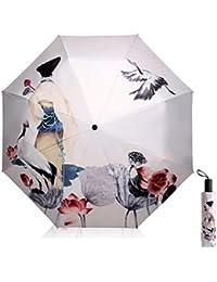 Paraguas de Sol Protección UV para Las Mujeres Creativo 3D Impreso Sombrilla Umbrella Triple Plegable Paraguas 190T Sombrillas 8 Huesos Damas Paraguas