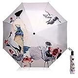 Maibar Sonnenschirm UV-Schutz Regenschirm für Frauen kreativ 3D Gedruckt Sonnenschirm Triple...