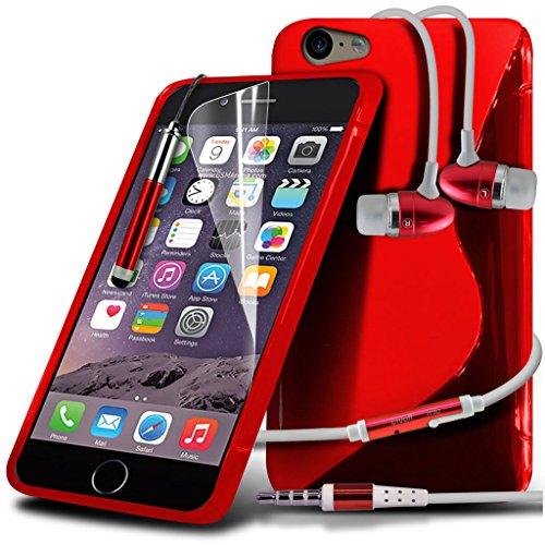Fone-Case Green Apple iPhone 6S étui Cover Case Flexable impact Absorbant Sline style Gel de couverture Made TPU Gel avec Protecteur d'écran 1 et 1 code couleur aluminium réglable Pen & 1 x Aluminium  Red Gel Case + Aluminium Earphone