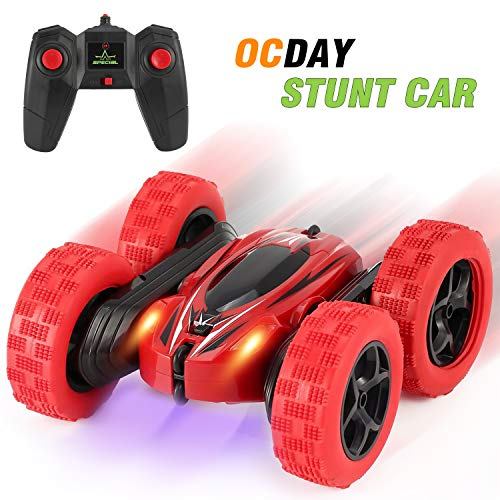 OCDAY 2.4GHz Remote Control Stunt Car 4WD Double-Side 360° Spins and Flips with LED Lights for Kids Toddlers,160x152x70mm