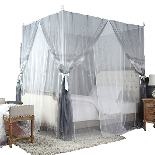 Filet Anti-Moustique Mosquito Net Bed Moustiquaire Mousseline À Moustiquaire Impression De Vent Naturel Cryptage Mountain Double Couche Tingting (Couleur : Gris, Taille : 2M)