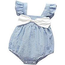 Pagliaccetto SamMoSon Bimbo bambino bambine Neonato Infantile Bambino Ragazzo Ragazza Senza Maniche A StrisceBowknot Abiti Tuta Pagliaccetto Outfits Set Outfit