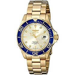 Invicta Unisex Pro Diver Quartz Watch with Gold Dial Analogue Display and Gold Plated Bracelet 14124