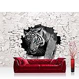 Fototapete 254x184cm PREMIUM Wand Foto Tapete Wand Bild Papiertapete - Tiere Tapete Tiger Mauer Durchbruch schwarz - weiß - no. 3309