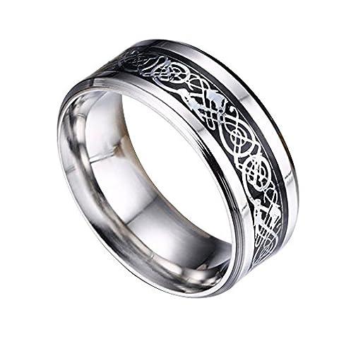 Contever® en Acier Inoxydable Dragon Motif Bords Biseautés Celtic Bague Rings Band Bijoux Comfort Fit Hommes Pour Anniversaire / Engagement / Wedding Band Couleur SL - Taille 12 #