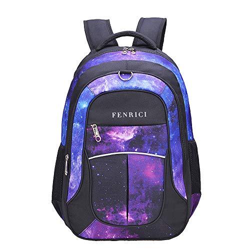 FENRICI Galaxierucksack für Mädchen, Jungen, Kinder, 46cm Schulrucksack, hochwertige qualität für Grundschule, Mittelschule, 34L (GLAUBE, Groß)