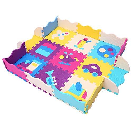 MQIAOHAM Multi Color Trainingsmatte Spielmatten für Kinder Schaumstoff Eva Playmat Kids Sicherheitsspielboden Playmat Foam Spielzimmer Interlocking Boden Puzzle Mat Interaktive Spielset P024B3010 (Kids Playmat)