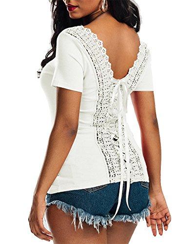 Shirt Tops en Dentelle - Femmes Chemisier Manche Courte Col Rond T-Shirt Haut Blouse Blanc
