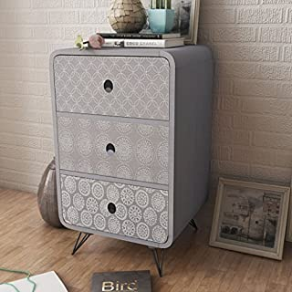 Anself Side Cabinet Table Storage Unit 3 Drawers Living Room Furniture Grey