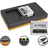 2 Baterías + Cargador doble (USB) para LI-90B LI-92B / Olympus Stylus SH-1, SH-2, SH-50, SH-60 / SP-100EE / XZ-2 / Tough TG-… - ver lista (contiene cable micro USB)