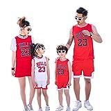 XCR Bambini Ragazzi Ragazze Uomo Adulto NBA Michael Jordan #23 Chicago Bulls Retro Pantaloncino e Maglia Basketball Jersey Basket Maglie Uniforme Top & Shorts 1 Set (Red (Rosso), XL (Bambino))