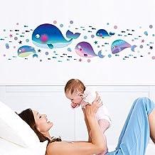 Wallpark Lindo Azul Ballenas Peces Desmontable Pegatinas de Pared Etiqueta de la Pared, Bebé Niños Hogar Infantiles Dormitorio Vivero DIY Decorativas Adhesivo Arte Murales