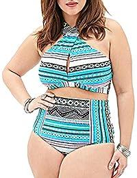 Bikini Impresión Traje De Baño Bañador Mujer De Dos Piezas De Talla Grande Ropa De Baño Con Talle Alto Azul 3XL
