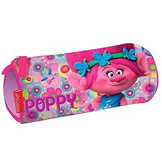 Trolls–Estuche escolar cilíndrico los Trolls Poppy Happy