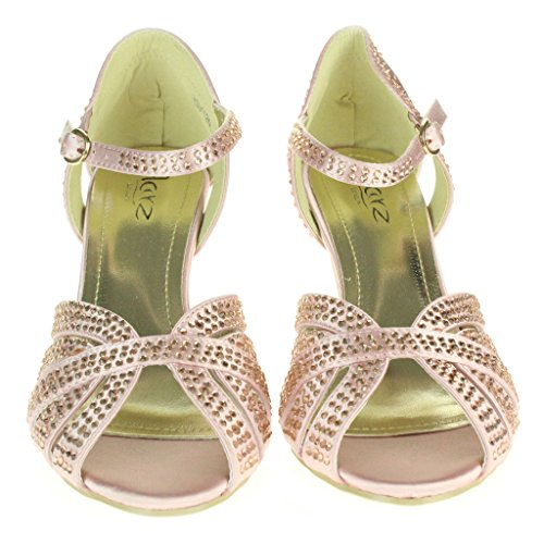 Femmes Dames Diamante Peeptoe Sangle de cheville Talon haut Soir Fête De marié Mariage Bal de promo Sandales chaussure Taille Rose.