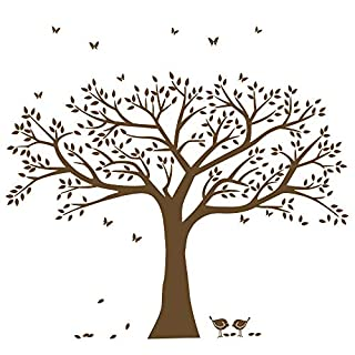 anber Family Tree Wall Decal Butterflies and Birds Wall Decal Vinyl Wall Art Photo Frame Tree Stickers Living Room Home Decor Wall Sticker