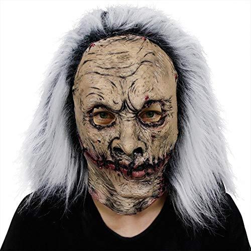 Kostüm Mörder Vampir - HOUADDY Halloween Rotten Horror Mask Kostüm für Erwachsene Weißhaariger Alter Dämon Halloween Horror Devil Mask Vampire Haunted House Böser Mörder Unheimlich Latex Kopfmasken