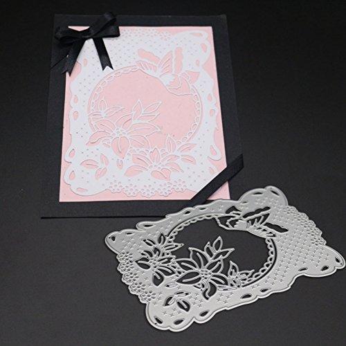 YfqUamarylli Stanzschablone, Blumen-Design, rechteckiger Rahmen, Metallprägung, DIY Album-Papier, Bastelwerkzeug – Silber