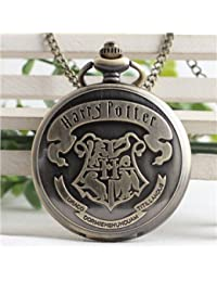 Bronze : Black Harry Design Antique Retro Quartz Pocket Watch With Long Chain Necklace Vintage Fob Watches To...
