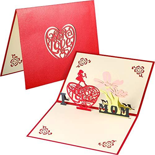 3d cartolina d'auguri 3d rose pop up biglietti d'auguri, rose carta e carte di san valentino (festa della mamma)