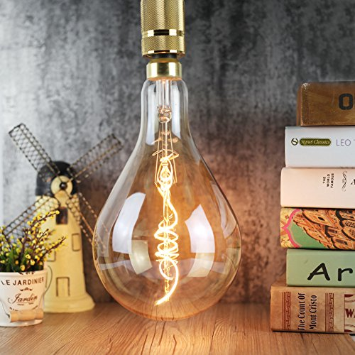 EDISON-Birne PS52 Keramik A160 gebogen LED Filament Bernstein 5 W dimmbar 220/240 V E27 Antik Vintage Leuchtmittel (Keramik-gelbe Birne)