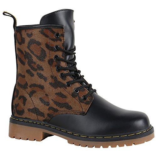 Stiefelparadies Geschnürte Damen Worker Boots Profil Sohle Punker Stiefeletten 151705 Leopard Braun Muster 37 Flandell