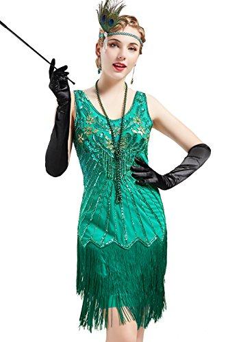 BABEYOND Damen Retro 1920er Stil Flapper Kleider mit Zwei Schichten Troddel V Ausschnitt Great Gatsby Motto Party Kostüm Kleider- Gr. M (Fits 78-88 cm Waist & 96-106 cm Hips), Lavendel - Grüne Kostüm Kleid