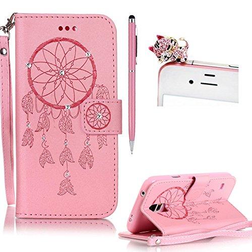 SKYXD für Samsung Galaxy S5 Mini Hülle Leder Traumfänger Blumen Drucken Muster,Brieftasche Klappbar Glitzer Strass PU Folio Schutzhülle [Kartenfach / Magnet / Standfunktion / Trageschlaufe] Inner Silikon Klapphülle mit [Handyanhänger + Eingabestift] 3 in 1 Zubehör Handy Tasche Etui for Samsung Galaxy S5 Mini Bookstyle Flip Case Leather Cover With [Stylus and Dust Plug]- Rosa (Galaxy S5 Geld Drucken Cover)