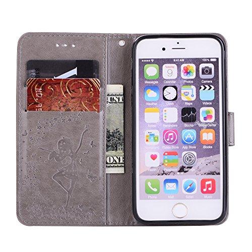 Apple iPhone 6 Plus/6S Plus 5.5 hülle,Voguecase 2 in 1 Combo Kunstleder Tasche PU + TPU Schutzhülle Tasche Brieftasche Hülle Handy Schutzhülle Case Cover Abnehmbare Handy Shell Geldbörse (Mädchen und  Mädchen und Katzen - grau