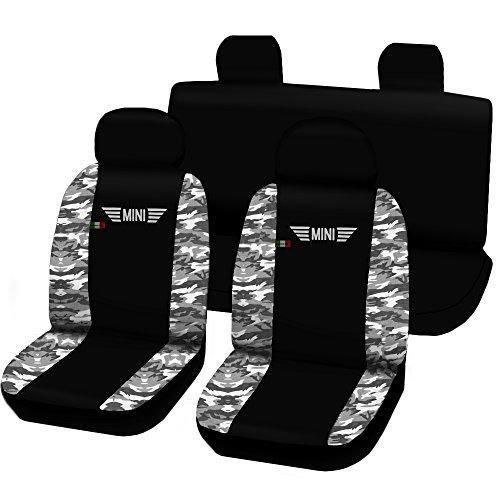 Lupex Shop Sitzbezüge für Mini, zweifarbig, schwarz und Camouflage-Muster