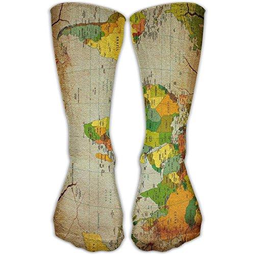 World Map Countries Crack Novelty Cotton Crew Socks Casual Ankle Dress Socks For Men&Women