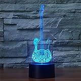 3d LED lampe de nuit illusion créatif guitare style nuit lumière 7 couleurs changeant câble usb interrupteur tactile à distance...