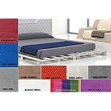 (125 Azul/Marino) SEDELLA* COLCHA MULTIUSOS FOULARD PLAID LISO para cama o sofá CALIDAD SUPERIOR GARANTIZADA FABRICADO EN ESPAÑA (125_x_180_cm, AZUL/MARINO)