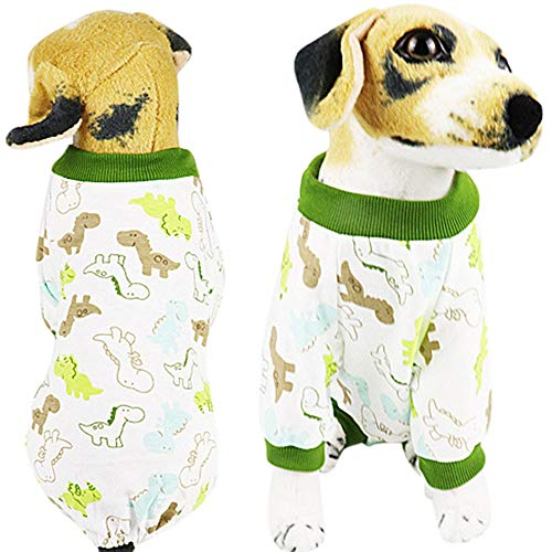 Balock Schuhe Hundebekleidung,Welpen Baumwolle Jumpsuit Nachtwäsche, Winter Floral Bedruckte Pyjamas Kleidung,Perfekt Zum Wandern,Joggen, Jagen,für Kleinen Hund (Grün, S) - Mantel Pyjamas