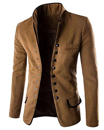 Herren Stehkragen Sakko Business Anzug Klassisch Knopf Slim Fit Blazer Büro Alltag Kurzmantel Haarig Tunika Jacke Mantel Outerwear Braun XL (Tunika-anzug)