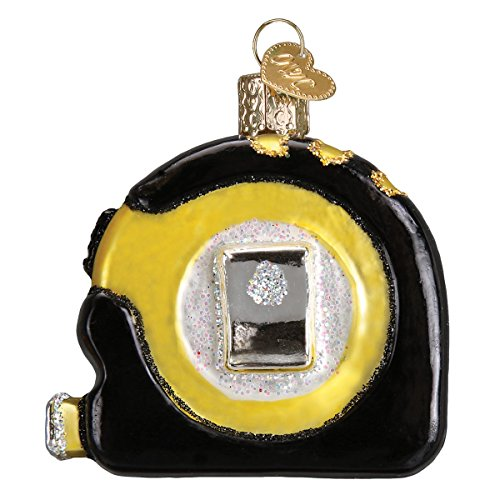 Old World Christmas Ornaments: Just Married Limo Glas geblasen Ornamente für Weihnachtsbaum Messband 2.5 x 2.75 Glitter Black and Yellow (Geblasenes Glas-ornamente)