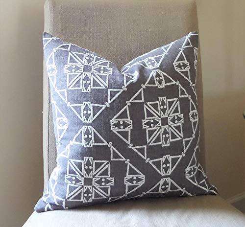 Andrea1Oliver Kissenbezug, Anthrazit/Weiß, texturierte Stickerei, afrikanischer Boho, Aztekenmuster, geometrischer Druck, Größe 46 x 46 cm -