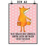 Mr. & Mrs. Panda Poster DIN A2 Fuchs Laterne - 100% handmade in Norddeutschland - Spruch trösten, Wanddeko, Poster, Laterne, Sankt Martin, Aufmuntern, Wandposter, Bild, Füchse, Liebeskummer Spruch, Cäsar Otto Hugo Flaischlen, Fuchs