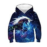 ALISISTER Hoodie Kinder Jungen Mädchen 3D Galaxy Einhorn Hoody Kapuzenpullover Beiläufig Langarm Sweatshirt Sweater S