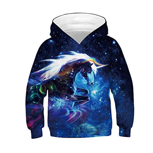 Kids Hoodies for Boys Girls 3D Galaxy Animal Hooded Pullover Pockets Sweatshirt Autumn Winter Shirt Tops M