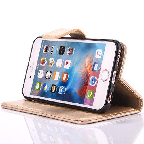 Custodia per Apple iPhone 6, ISAKEN iPhone 6S Flip Cover, 4.7 inch Custodia con Strap, Elegante Bookstyle Contrasto Collare PU Pelle Case Cover Protettiva Flip Portafoglio Custodia Protezione Caso con Oro