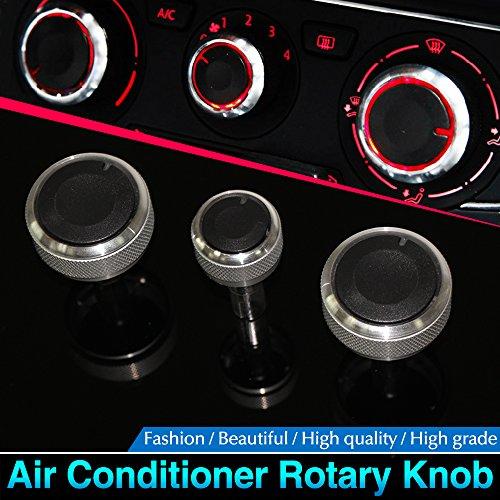 Perillas para aire acondicionado Mebare(TM) hechas de aleación de aluminio color plateado,...