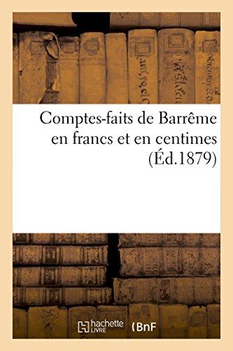 Comptes-faits de Barrême en francs et en centimes