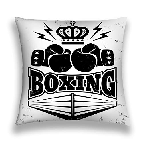 ge Throw Pillow Cover Pillowcase Vintage Emblem Boxing Logo Two Gloves Crown Ring Pretty Sofa Home Decorative Cushion Case 18