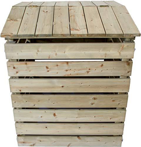 Nativ Komposter aus Holz mit Deckel, Holzkomposter aus imprägniertem Lärchenholz mit klappbarer Abdeckung, 78 x 75 x 91 cm, stabile und langlebige...